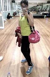 Nafisa Salma - Nike Sport Bag, Karimor Black Legging, Adidas Blue Sneakers, Forever 21 Yellow Tank, Hardrock Jacket - After Workout