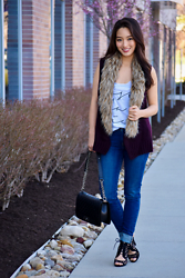 Kimberly Kong - Luciana Graphic Tank Top, 5/48 Cable Knit Vest With Faux Fur Collar, Amiclubwear Strappy Black Heels, Chanel Boy Bag, Levi's Mid Rise Skinny Jeans - Luciana:  Graphic Tee Heaven