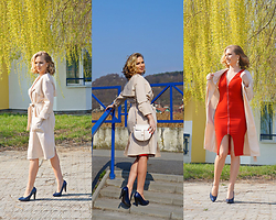 Federova Kik - Sheinside Trench, Sheinside Dress, Sheinside Bag - Nude Trench and the Red dress