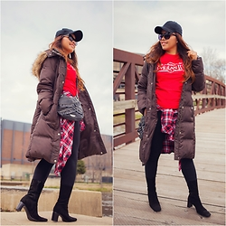 Lily S. - Michael Kors Coat, Forever 21 Leggings, Hanes Mulan Tee, Nine West Bag, Enrico Antinori Boots, Hat, Plaid Flannel Shirt, Betsey Johnson Sunglasses - Mulan Tee // Instagram @pslilyboutique
