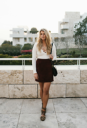 Nathalie K - Social T Lace Up Top, Vintage Suede Skirt, Lovemade Leopard Shoes, Vintage Black Bag - Getty Center
