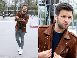 Marc Galobardes - Zara Brown Biker, Forever 21 Grey Trousers, Reebok Sneakers - BROWN SUEDE