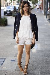 Emily S - H&M Navy Blazer, One Teaspoon Denim Shorts, Tony Bianco Tan Heels - Denim + Blazer