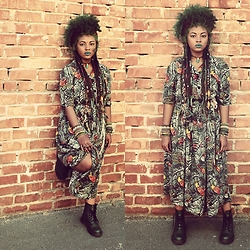 HippKhoi - Thrift Store Vintage Dress, Hippkhoi Arm Bands, Dr. Martens Green Boots, Ska Crystal Stone - Vintage fierce