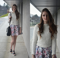 Jennifer M - Forever 21 Sweater, Forever New Floral Skirt, Call It Spring Platform Sandals - Spring