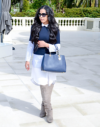 Chiara Culture With Coco - Zara Contrast Top, Benjamin Jay Lexington Button Up Dress, Kristin Cavallari Calissa Over The Knee Slouch Boot, Michel Kors Michael Michael Cynthia Bag, Chanel Tweed Print Turnlock Sunglasses - Cool Tones, Cannes and The Croisette