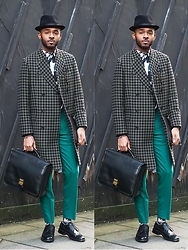 Martell Campbell - Bailey Of Hollywood Black Trilby, Paul Smith Houndstooth Coat, Paul Smith Huge Houdstooth Print Shirt, Paul Smith Green Wool Trousers, Paul Smith Zigzag Print Socks, Oliver Sweeney Derby Brogues - Modern Tailoring