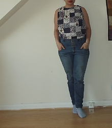 Selina M - Self Made Teddy Bear Picnic Patchwork Top, Vinted Skinny Jeans - And my destination, makes it worth the while