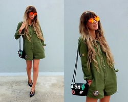 Joanna L - Zara Jumpsuit, Red Or Dead London Heels, Mango With Bershka Patch Bag Diy - Olive