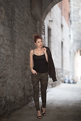 Tawny - Forever 21 Black Cami, Lime Camo Trouser, Huf Corduroy Jacket, Jeffrey Campbell Shoes Chunky Heel Ankle Strap Sandal - Urban Cammo