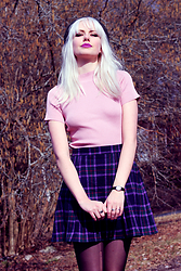 Sotzie Q - Wholesale7 Powder Pink Mock Turtle Neck Top, Beyond Retro Purple Tartan Skirt - If you never play the game