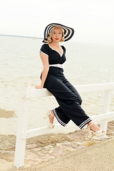 Harlow Darling - Miss Candyfloss Jumpsuit, Novo Shoes - Nautical Jumpsuit