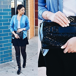 Josephine Ellen - Vila Jacket, Madewell Top, Astr Bottom, She + Lo Clutch, Louise Et Cie Boots - Monday Blues
