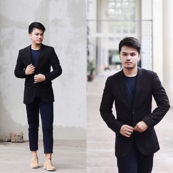 Michael Macalos - Topman Skinny Fit Suit, Lanvin Navy Blue Pants, Toms Beige Suede Oxfords - Sleek and Minimal