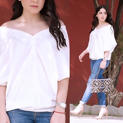 Marifer Rocha - Gracia Blouse, Zara Jeans, Bershka Purse, Steve Madden Shoes, Cartier Watch - White shoulder top