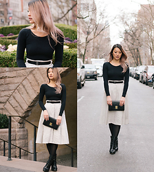 Sabrina P. - American Apparel Top, Zara Skirt, Vintage Clutch, Boots - Pink Spring