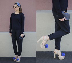 Lea Zeitman - C&A Sunglasses, Uniqlo Sweater, Furla Vintage Clutch, Isawsomethingnice.Ch Diy Pom Pom Shoes - Minimalist but WOW