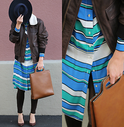 Lea Zeitman - Edwin Leather Jacket, Risa Hat, H&M Blouse Dress, Zara Leggings, Navyboot Pumps - Rocking STRIPES