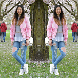 Raspberry Jam - Boohoo Bomber Jacket, Chicnova Shirt, Fashion Nova Detroyed Jeans, Primark Bag, Sugar Sneakers - Pink Bomber Jacket