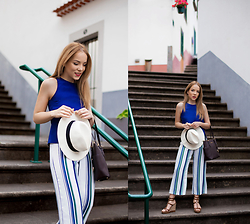 Silver Girl - The White Company Panama Hat, Massimo Dutti Roman Wedges, Michael Kors Leather Tote, Asos Striped Culottes, Asos Blue Sleeveless Top - SEA BREEZE