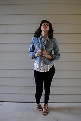 Huntress W. - Levi Strauss Denim Jacket, Lila Rose Dessert Shell, Max Studio Leggings, Franco Sarto Sandals - Bridges