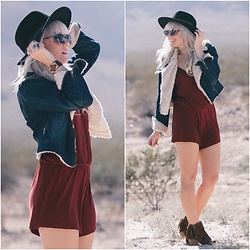 Kari Jane Ballesteros - Forever 21 Romper, Forever 21 Jacket, Not Rated Fringe Booties, H&M Black Hat, Kari Jane Native Bracelet - Desert Daze