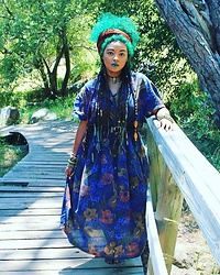 HippKhoi - Thrift Store Dress, Hippkhoi Armbands, Hippkhoi Headband - Gypsy forest