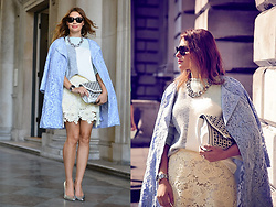 Elena Sandor - Warehouse Coat, Marks And Spencer Jumper, Topshop Skirt, Dune Heels, Asos Clutch, Zara Necklace, Cartier Sunglasses - Lace touch