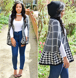 Chiara Culture With Coco - Nasty Gal Houndstooth Monochrome Cape, Boohoo White Body, Dr Denim Dark Stone Wash, Topshop Stiletto Sandal, Bufallo Grey Suede - Not Every Hero Has A Cape