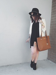 Naomi MacKeown - Forever 21 Brass Band Fedora, Spitfire London Coco Sunglasses, Vitaly Designs Triplo Ring, Nixon The Canon, Michael Kors Mk Tote, Forever 21 Buttonless Blazer, Forever 21 Collared Sleeveless Shirt Dress, Steve Madden Frenzy Boot - Last Summer
