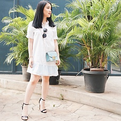 Pamela Wirjadinata - Furla Bag, Miu Sunglasses, Zalora Shoes, Posh The Label Dress - Blending in blue