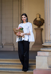 Elle de Strasbourg - H&M Art Deco Earrings, H&M Bio Cotton Blouse, KookaÏ Blacks Trousers, Longchamp Suede Slippers - H&M Conscious Exclusive 2016 Part II