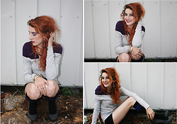Rose Pendleton - Chrissy's Knee High Socks, Forever 21 Dangle Earrings & Necklace, Forever 21 Off Shoulder Gray Top, Jcpenney's Purple Top, Payless Gray Heels, Forever 21 Bracelets - Purple Chic