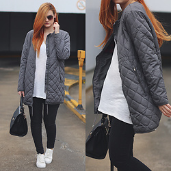 Tia T. - H&M Long Bomber Jacket, H&M White Sneakers, Mango Trapeze Bag, C&A Jeans - White Sneakers and Long Grey Bomber Jacket