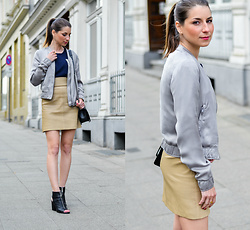 Stephanie Van Klev - Drykorn Blouson, Silvian Heach Shirt, 2ndday High Waisted Stretch Leather Skirt, Report Signature Open Toe Booties, Chanel Bag - SATIN BLOUSON & HIGH WAISTED SKIRT