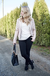 Julieanne Buma - American Apparel Black Skinny Jeans, Reitmans Beaded White Top, Nordstrom Pink Leather Jacket, Reitmans Studded Booties - Studded and beaded