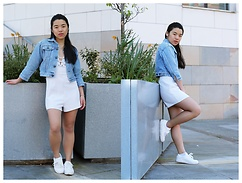 Thuy Pham - Vintage Denim Jacket, Hearts And Bows White Playsuit, Common Projects White Sneakers - White sneakers