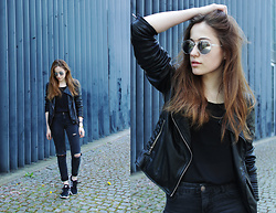 Celin May - Forever 21 Sunglasses, Zara Leather Jacket, Adidas Sneaker - (Just) sunglasses.