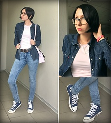 Jane V.I. - Levi's® Denim Shirt, H&M Slim Jeans, Converse Blue Sneakers, Basic Pastel Pink T Shirt, Fitness Tracker, Perl Necklace, Pastel Pink Bag - Pastel pink and denim
