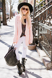 Rachel Lynch - Lack Of Color Black Hat, Just Fab Pink Blazer, Sticks + Stones Black Backpack, Just Fab White Denim - West village rock n roll