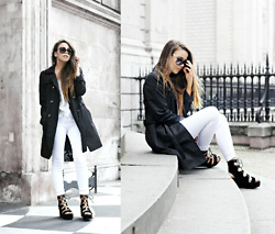 Jessica Sheppard - Burberry Sunglasses, George Trench Coat (Only £25), Mango Off The Shoulder Striped Blouse, Jack Wills High Waisted White Jeans, Public Desire Lace Up Platforms - THE STEPS OF ST PAULS.