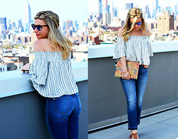 Katie Miller - Kimchi Blue Smocked Off The Shoulder Top, 7 For All Mankind Cropped Flare Jeans, Milly Multi Color Cork Clutch, Urban Outfitters Brown Wedges, Ray Ban Sunglasses - The Cropped Flare