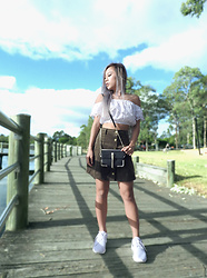 KTran - Ally Fashion Lace Off The Shoulder Top, Forever New Lexie Cross Body Bag, Missguided Suede Skirt, Nike Roshe - Turning up the Cute Factor