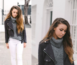 Jessica Sheppard - Missguided Suede Biker Jacket, George Roll Neck Jumper, Jack Wills White High Waisted Jeans - SPRING CURVEBALL.
