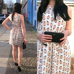 Caliope - Birdcage Print Dress, Joop Cornflower Clutch - Peach & Serenity