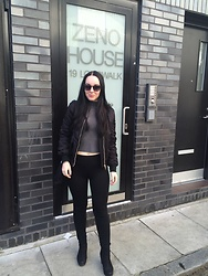 Sandra Jönsson - Topshop Bomber, Zara Pants, Ray Ban Shades - ZENO HOUSE LONDON