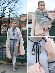 Anna Vershinina - Chicwish Blouse, Romwe Scarf, Sheinside Coat - Claude Monet Shades