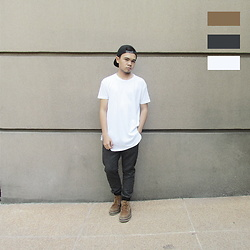 Ramoel Buhat - Penshoppe White Long Tee, Jogger Pants, Gibi Shoes Brown Boots - Dapper in Gibi