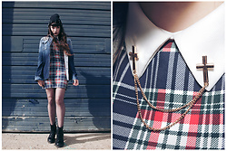 Amy Souter - Rings And Tings Metal Cross Collar Necklace / Pin, Charity Shop Tartan Collar Dress, Shoe Zone Combat Boots, Drop Dead Shirt - Cross My Heart And Hope To Die