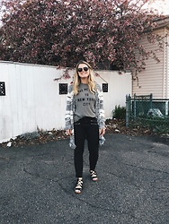Britnie Harlow - Project Social T Graphic Shirt, Forever 21 Fringe Striped Cardigan, Forever 21 Moto Denim, Treasure & Bond Lace Up Sandals - Take me home to new york city